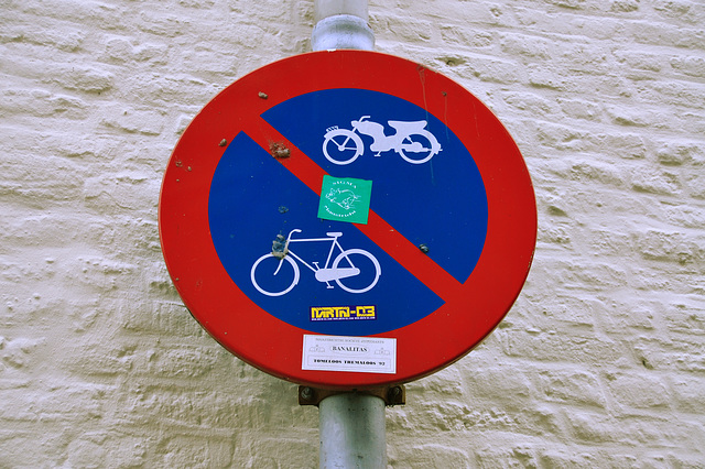 """Old sign """"No parking for bikes and mopeds"""""""