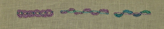## 104 and 105, Buttonhole Cable Chain and Alternating Buttonhole Cable Chain