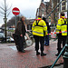 Eviction of squatters out of a building in Leiden – No place to affix the sign of his shop because of the blockade