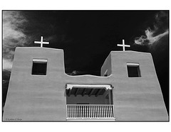 San Jose de Gracia Church in black and white