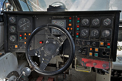 Cockpit control panel and steering wheel