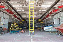 Inside the hovercraft.