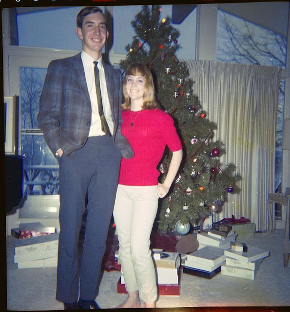Joe College, home for the holidays with sister, Karen.  Christmas, 1965