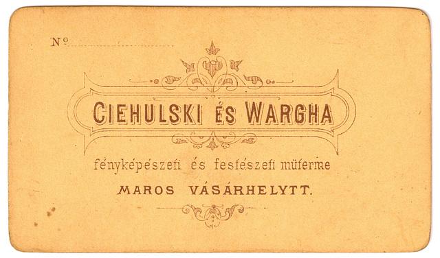Portrait of a Marosvásárhely lady: verso