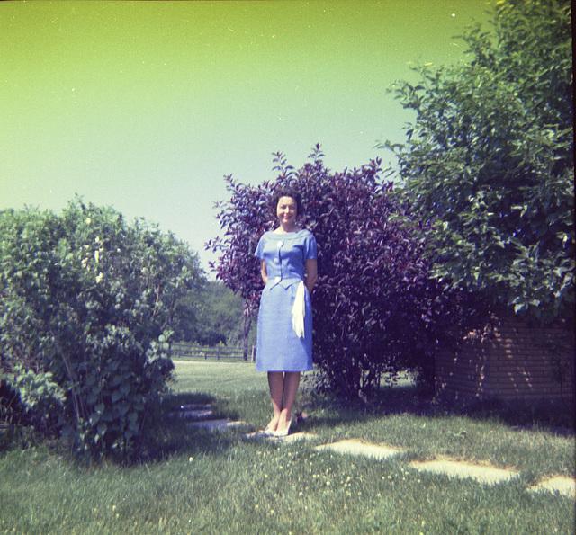 Mom, and Karen going somewhere, 1963