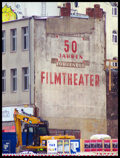Old advertisement for a movie theater (Reeperbahn, Hamburg St. Pauli)