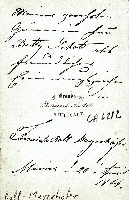 Franziska Roll-Mayerhöfer's autograph at the back
