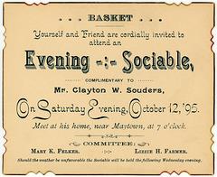Evening Basket Sociable Invitation, Maytown, Pa., October 12, 1895