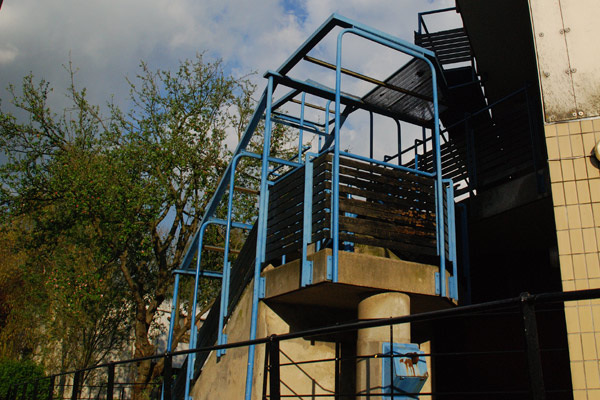 Blue railings