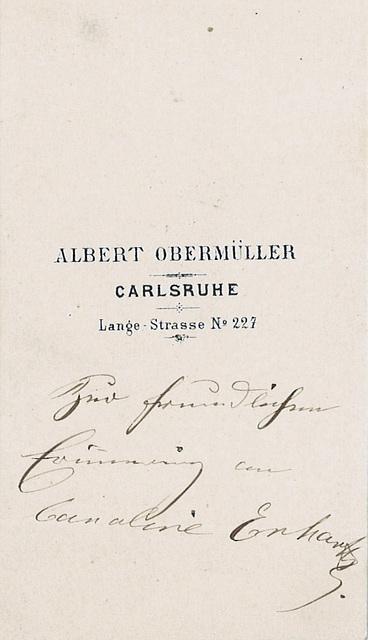 Caroline Erhartt's autograph on the reverse