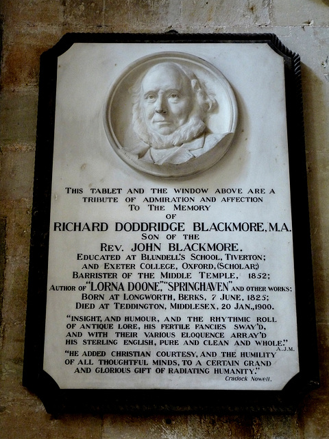 Exeter Cathedral- Memorial to R D Blackmore, Author of 'Lorna Doone'