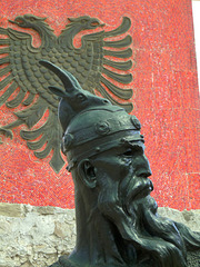Lezha- Bust of Skanderbeg and Mosaic of the Albanian Flag