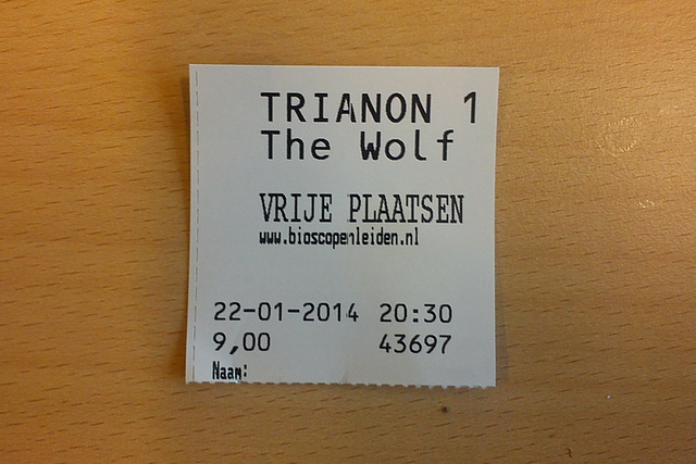 Movie ticket for the Wolf of Wall Street