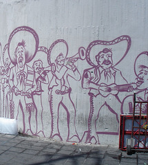 Mariachis sur mur / Wall mariachis. - Recadrage