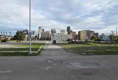 The DOWNTOWN DETROIT SKYLINE as viewed from far away.