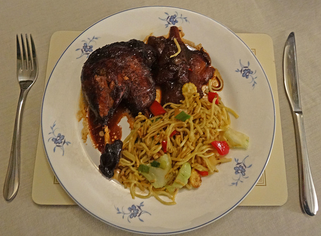 Duck cooked with fresh Plumbs and Pears