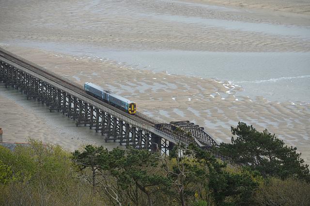 Train on bridge.