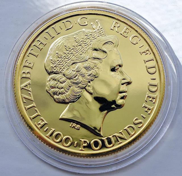 UK gold £100 coin.