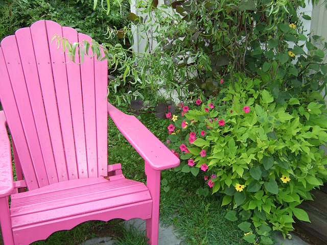 Pink Chair, Pink Flowers