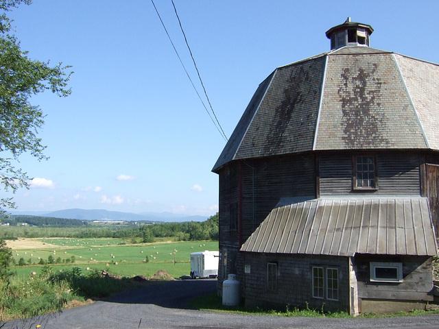Hayfields and Octagonal Barn
