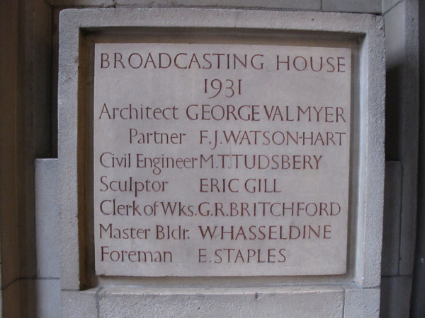 Broadcasting House foundation stone