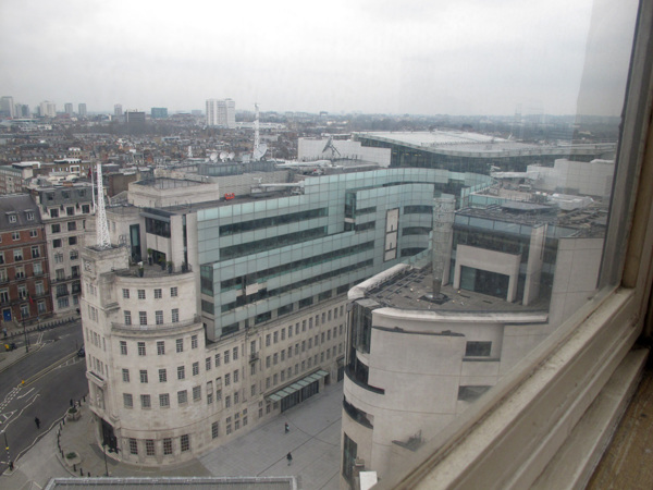 Looking down on Broadcasting House