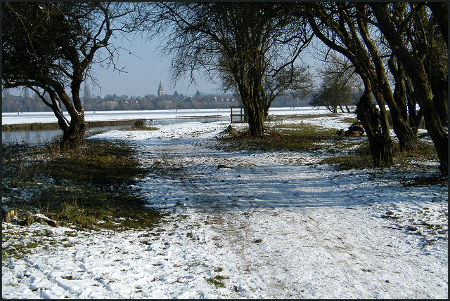 snow on the Thames Path