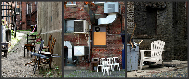 Crap chairs in alleys