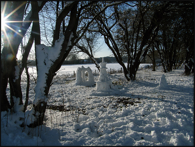 snow castles in the trees