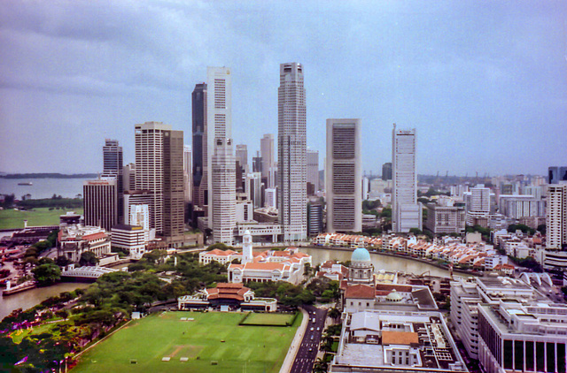 Singapore - Padang and Financial District, Apr. 1996  (210°)