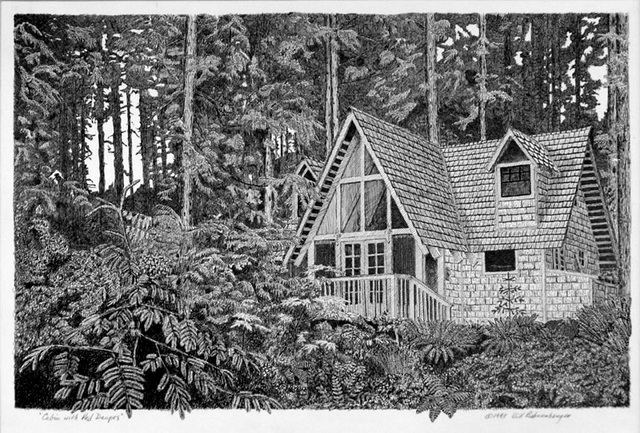 """Cabin in Index"", ink, 19x13in"