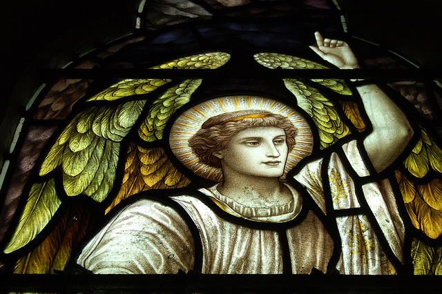 Victorian Stained Glass Detail, North Aisle, St James' Church, Idridgehay, Derbyshire