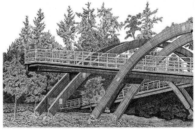 """Hyperbolic Bridge, ink, 16x11in"
