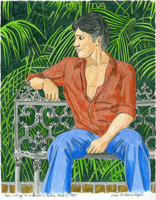 """Juan in Balboa Park"", ink, 8x10in"