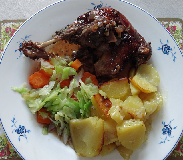 Duck cooked in Port with onion garlic and herbs