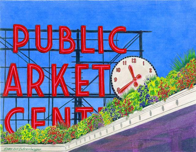 """Seattle Market"", color pencil, 14x11in."
