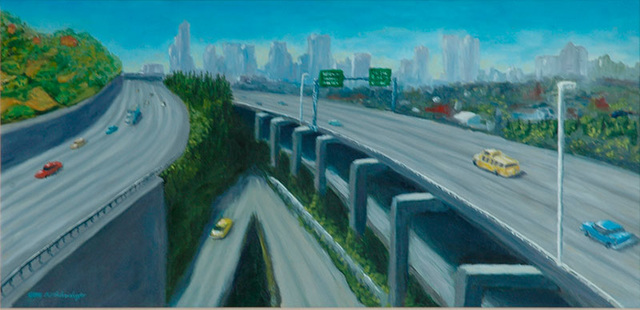 I5 in Seattle, oil, 30x18in, Collection Robert Barr