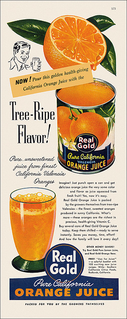 Real Gold Orange Juice Ad, 1947
