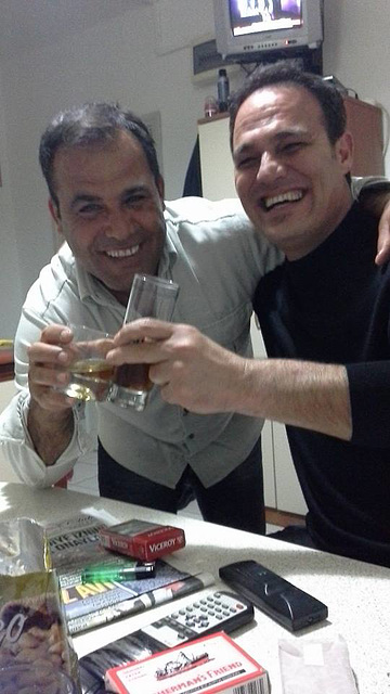 Dogan and Yusef enjoying the whiskey