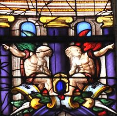 Détail d'un vitrail de la Ste-Chapelle de Champigny-sur-Veude