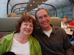 We made a vain attempt at perky too. Early morning train in Alaska, 2009