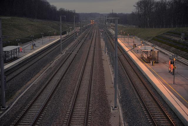 Auxons-Dessous: Gare Besançon Franche-Comté TGV:Vue des voies en direction de Dijon depuis la paserelle