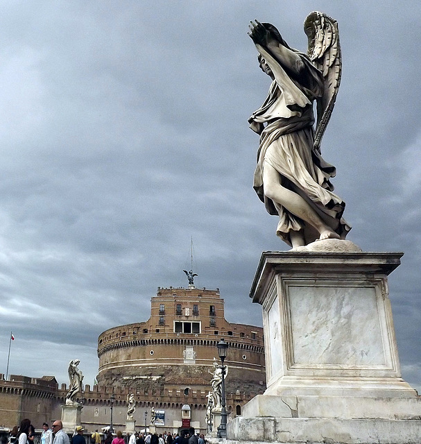 angel on Ponte S.Angelo with Castel S.Angelo