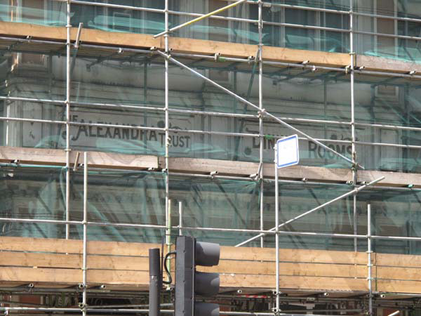 Alexandra Trust Dining Rooms swathed in scaffold