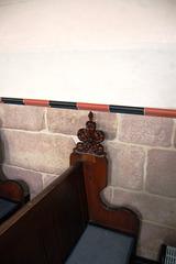 Detail of  typical pew end, Saint Michael's Church, Birchover, Derbyshire