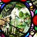 nowton church, suffolk; c17 glass; adam naming the animals