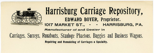 Harrisburg Carriage Repository Letterhead, Harrisburg, Pa.