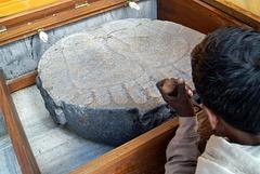 L'empreinte des pieds du Bouddha  (Temple de Mahabodhi) (Bodh-Gaya, Bihar, Inde)