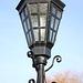 Lamp in churchyard of St Peter and St Paul Church, Lavenham, Suffolk, England