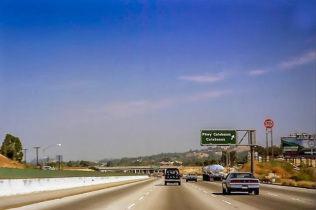 Every Morning half past 8. Ventura Freeway (US-101) at Calabasas, May 1981 (060°)